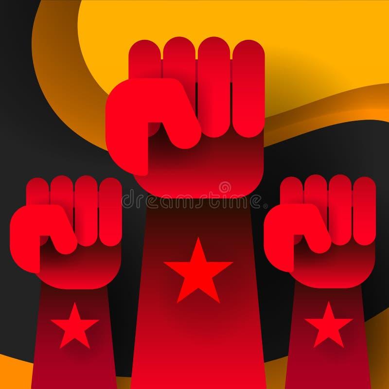 Plano de la revolución Vector social de la red Fondo blanco Cartel de la revolución, mano del puño Estilo plano ilustración del vector