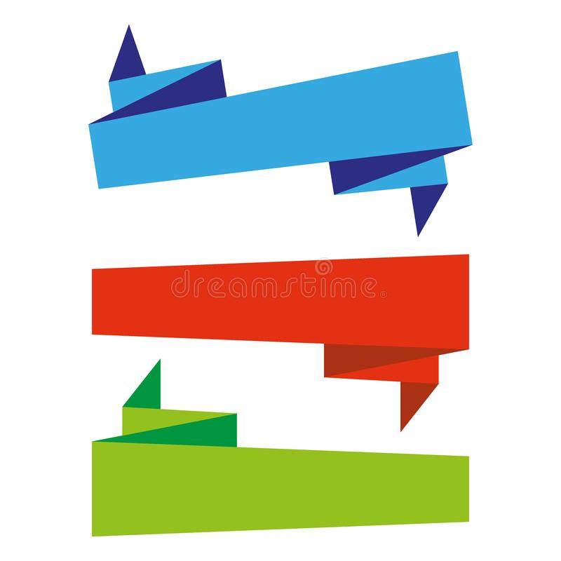 Plano plano de las banderas de las cintas del vector aislado en el fondo blanco, sistema del ejemplo libre illustration
