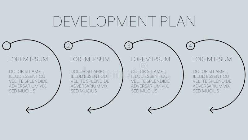 plano de negócios do desenvolvimento com quatro etapas fáceis ilustração stock
