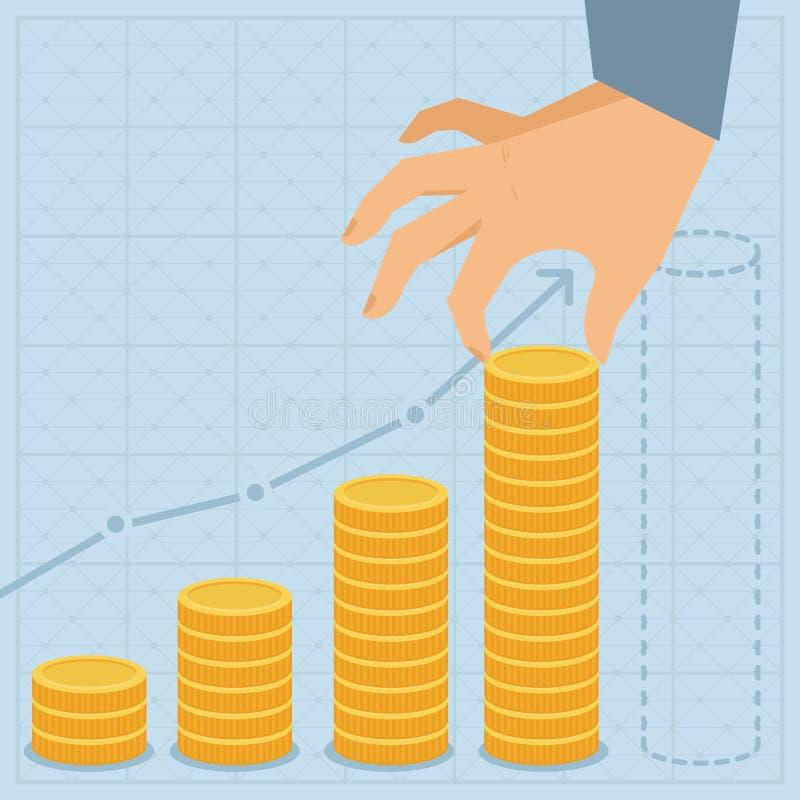 Plano de negócios do vetor - moedas douradas no estilo liso ilustração do vetor