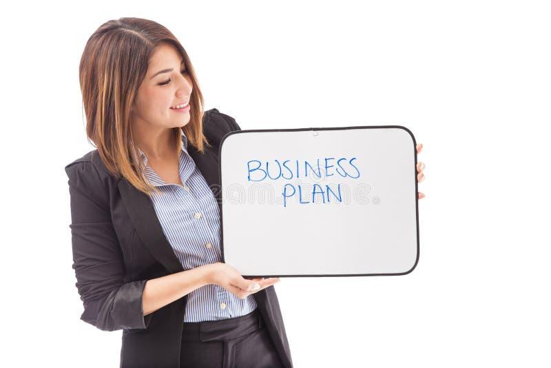 PLANO DE NEGÓCIOS em um whiteboard pequeno imagens de stock
