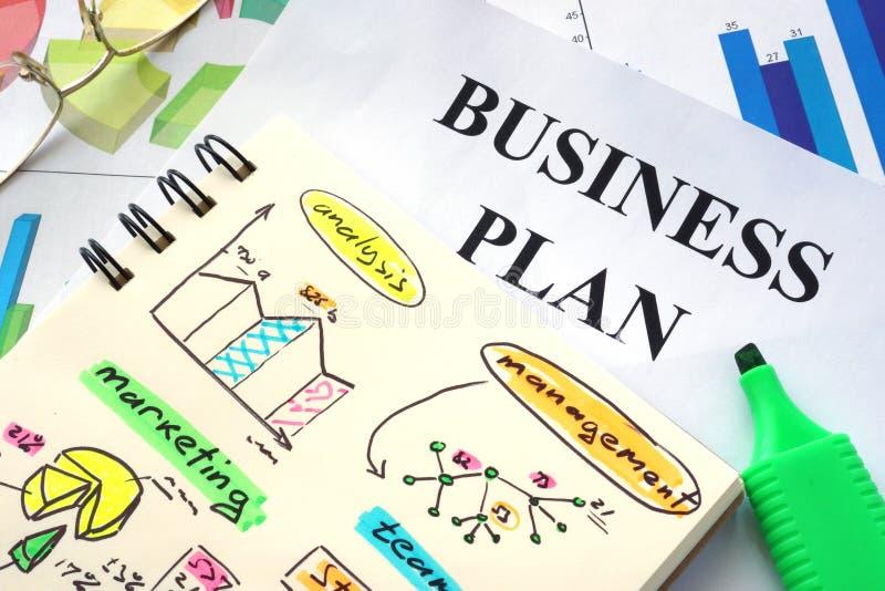 Plano de negócios redigido em um caderno foto de stock royalty free