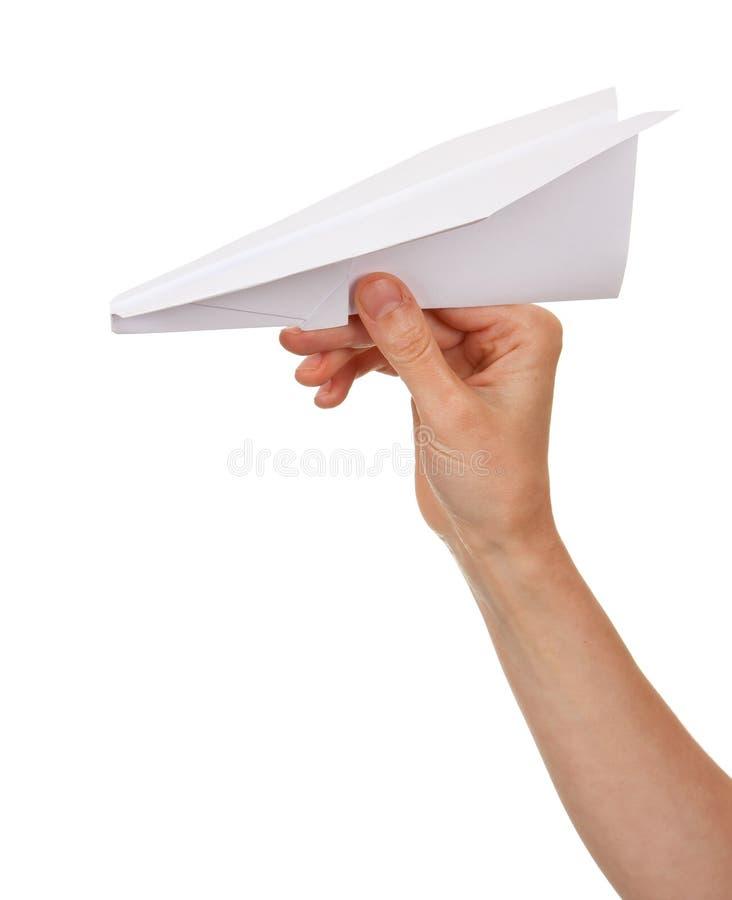 Plano de papel de jogo da mão da mulher fotos de stock royalty free
