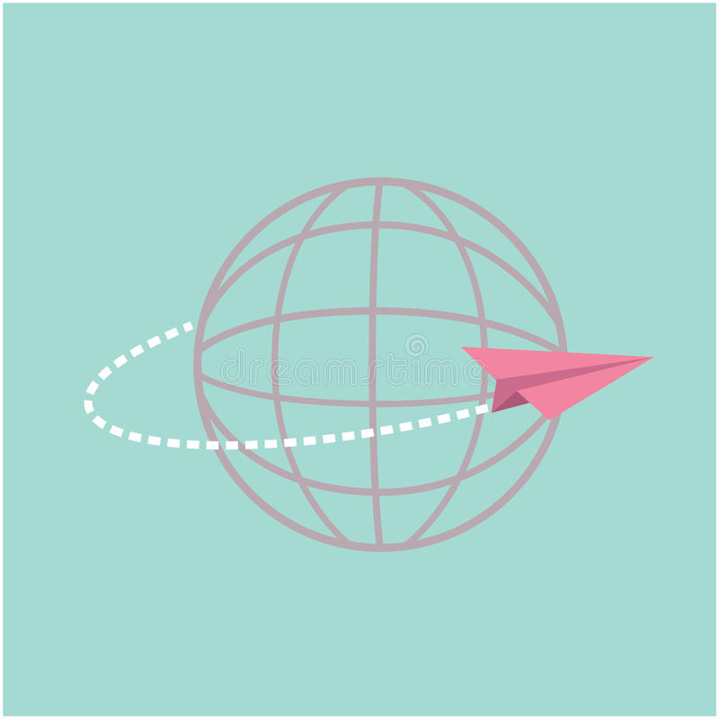 Plano de papel do origâmi voando em todo o mundo o globo ilustração do vetor