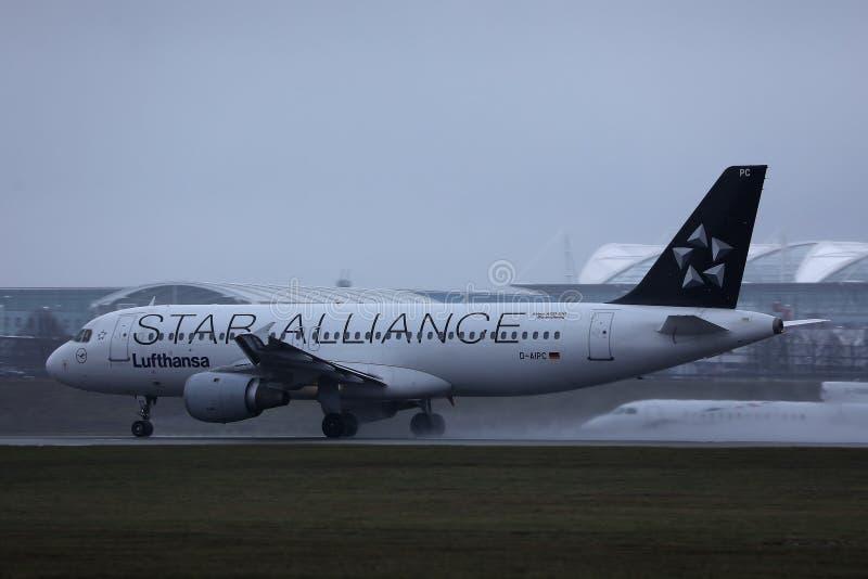 Plano de Star Alliance Lufthansa que faz o táxi na pista de decolagem, opinião do close-up fotografia de stock royalty free