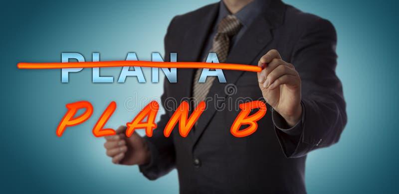 PLANO A de Striking Out do gerente para ativar o PLANO B imagem de stock