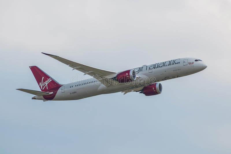 Plano de Virgin Atlantic imagens de stock