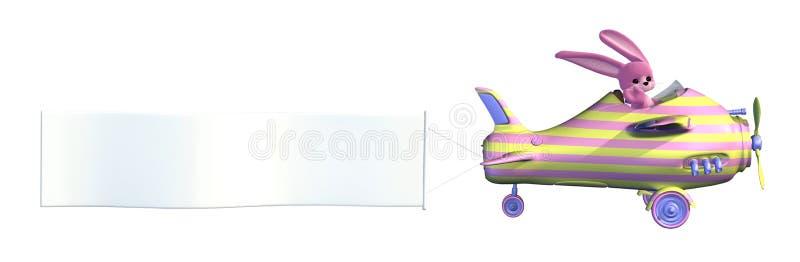 Plano del conejito de pascua con la bandera en blanco ilustración del vector