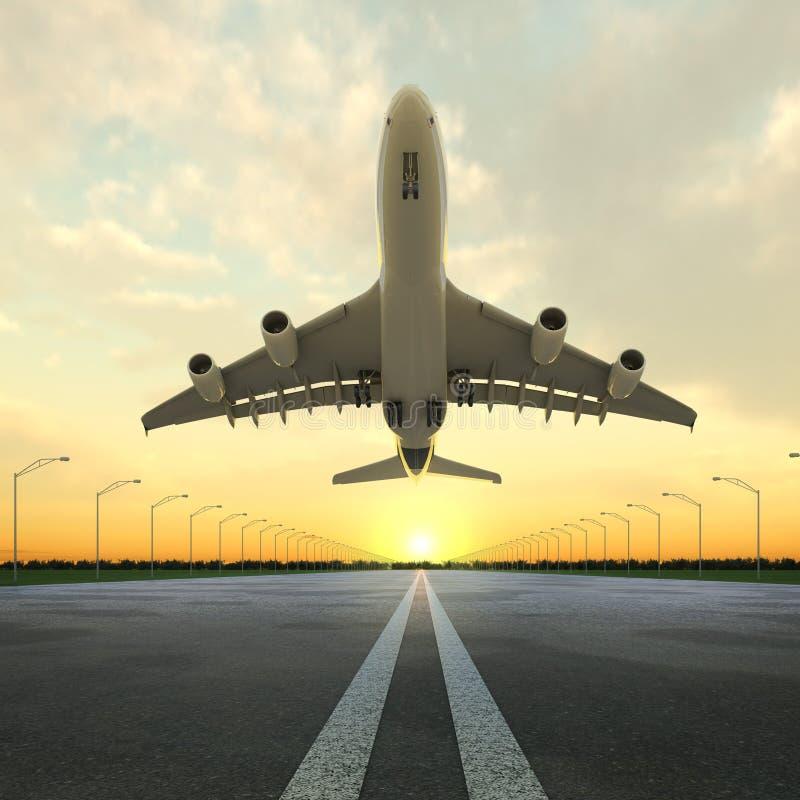 Plano del despegue en aeropuerto en la puesta del sol stock de ilustración