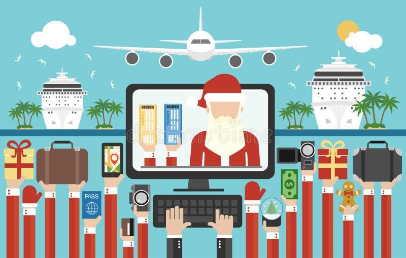 Plano del diseño del viaje del Año Nuevo, compra en línea de los boletos para el viaje tropical del Año Nuevo ilustración del vector