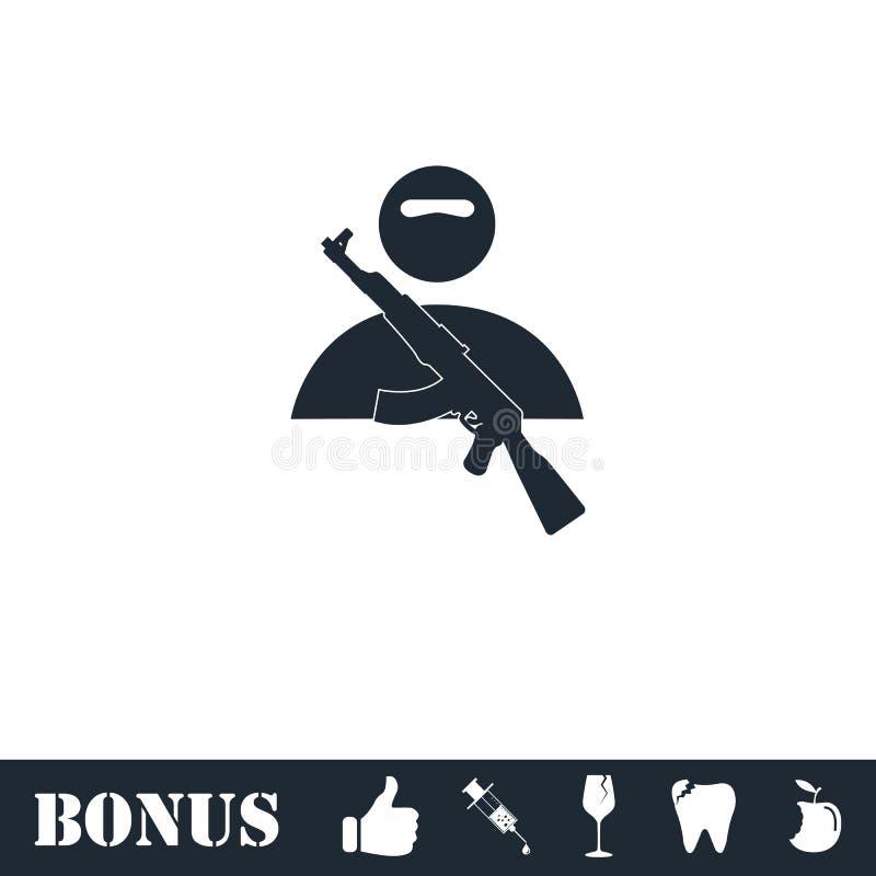 Plano del icono del asaltante entrenado para la lucha cuerpo a cuerpo stock de ilustración