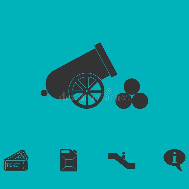 Plano del icono del cañón ilustración del vector