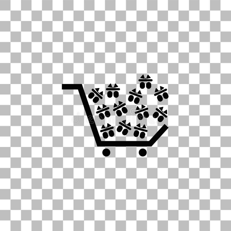 Plano del icono del carro de la compra stock de ilustración
