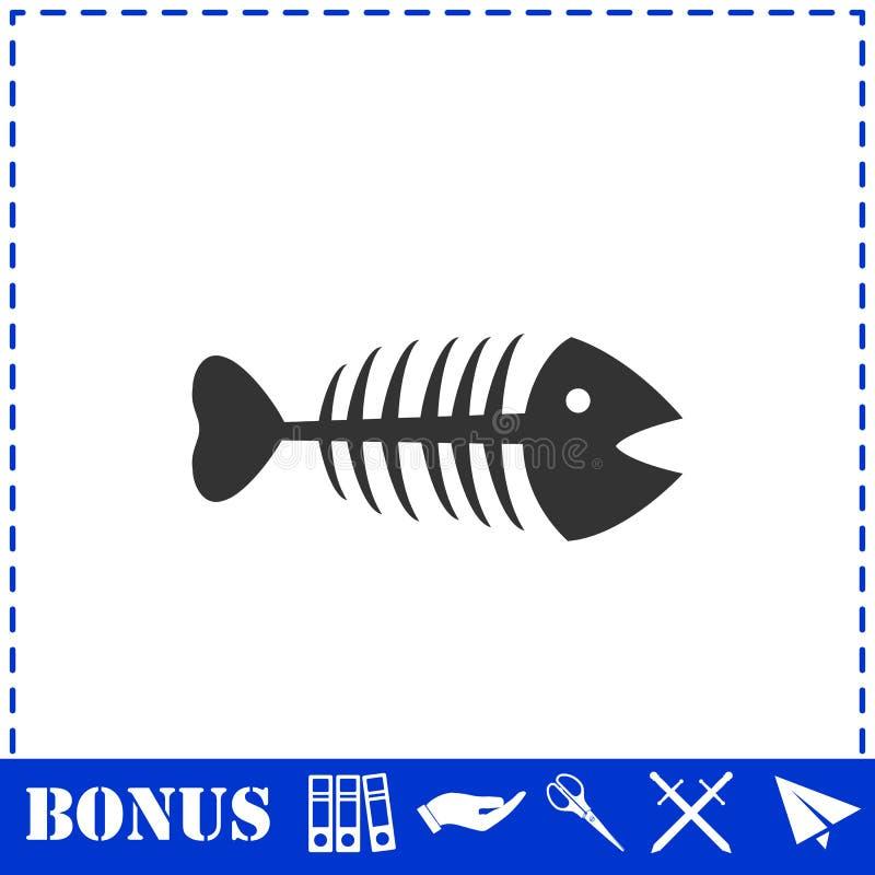 Plano del icono de la espina de pez ilustración del vector