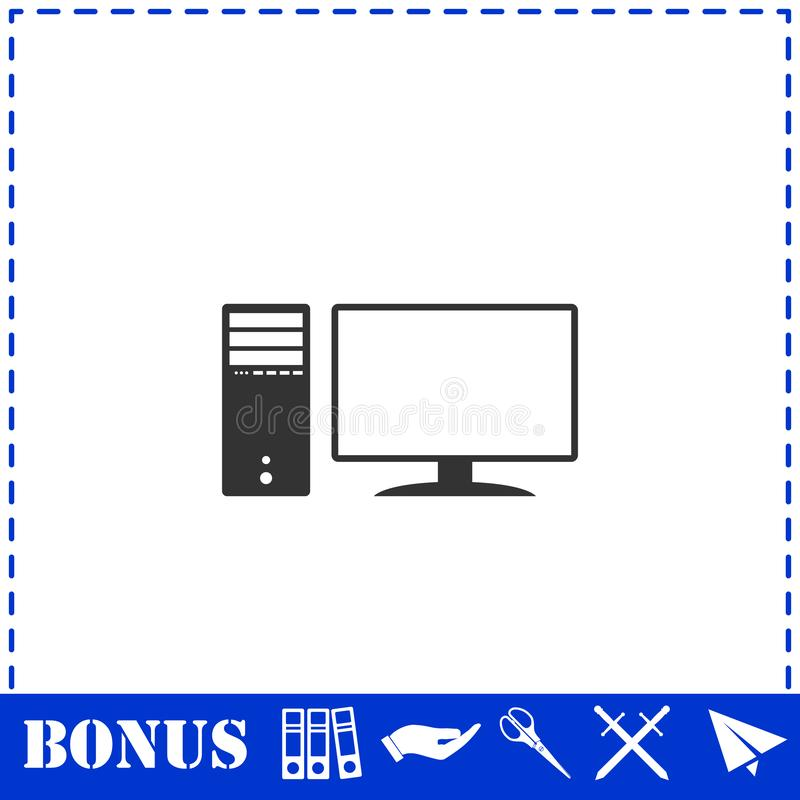 Plano del icono de la PC stock de ilustración