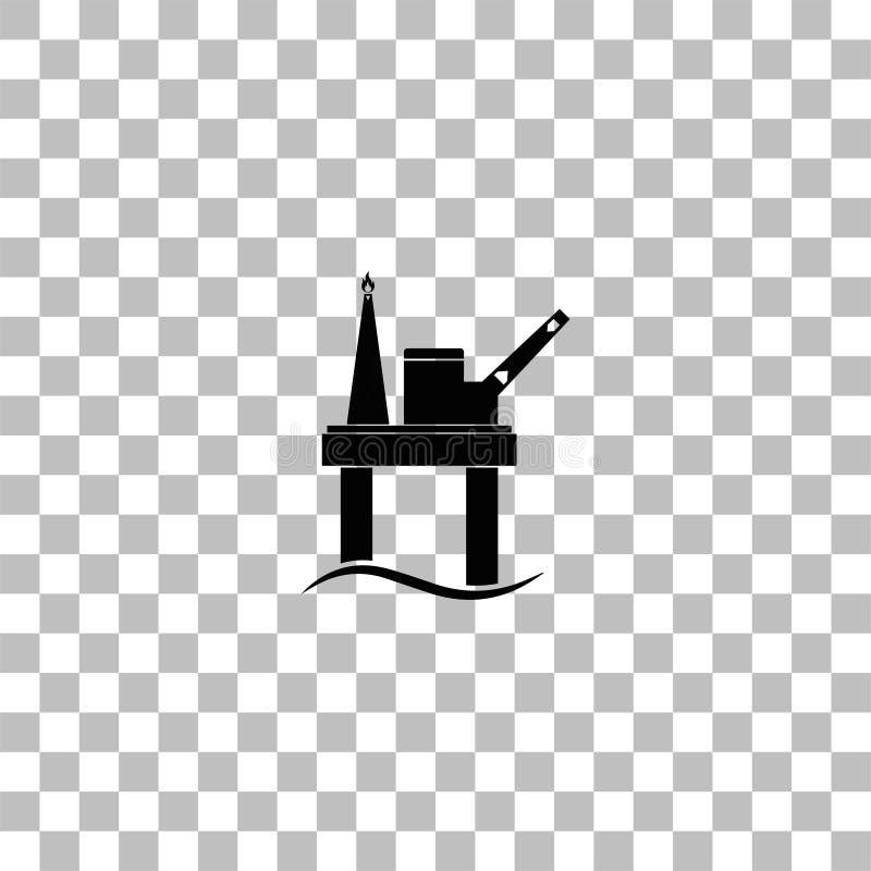Plano del icono de la plataforma petrolera stock de ilustración