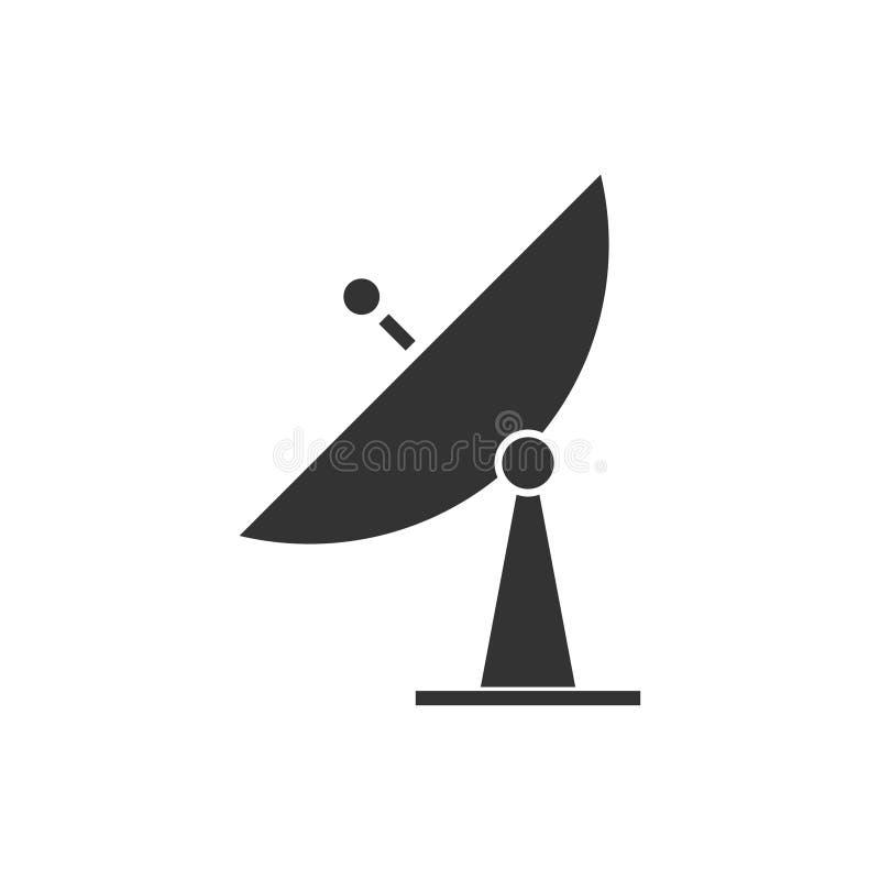 Plano del icono de la TV vía satélite ilustración del vector