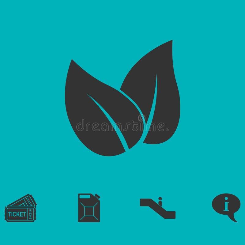 Plano del icono de las hojas ilustración del vector