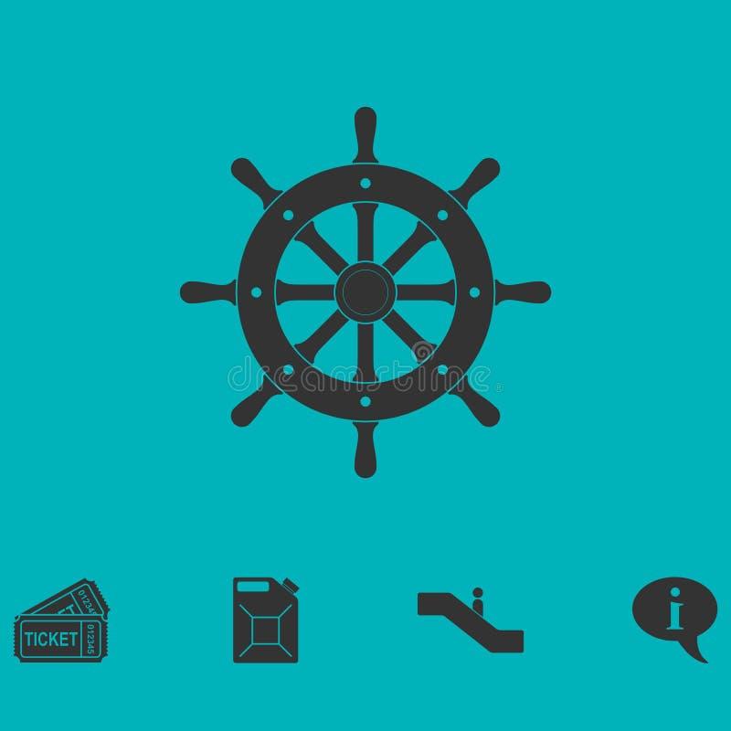Plano del icono del timón ilustración del vector