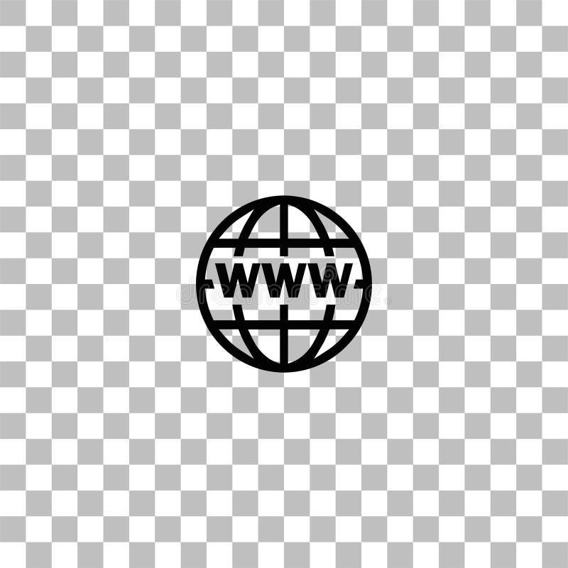 Plano del icono del World Wide Web stock de ilustración