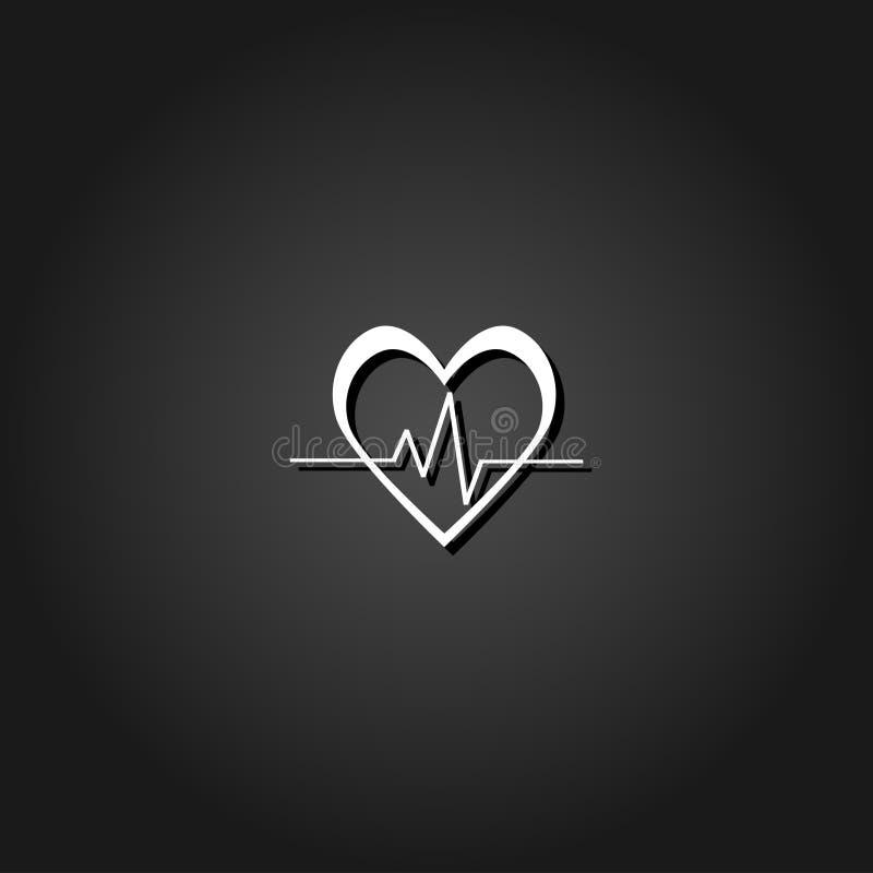 Plano do ícone da pulsação do coração ilustração stock