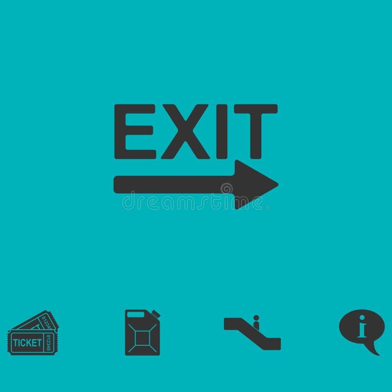 Plano do ícone da saída ilustração stock