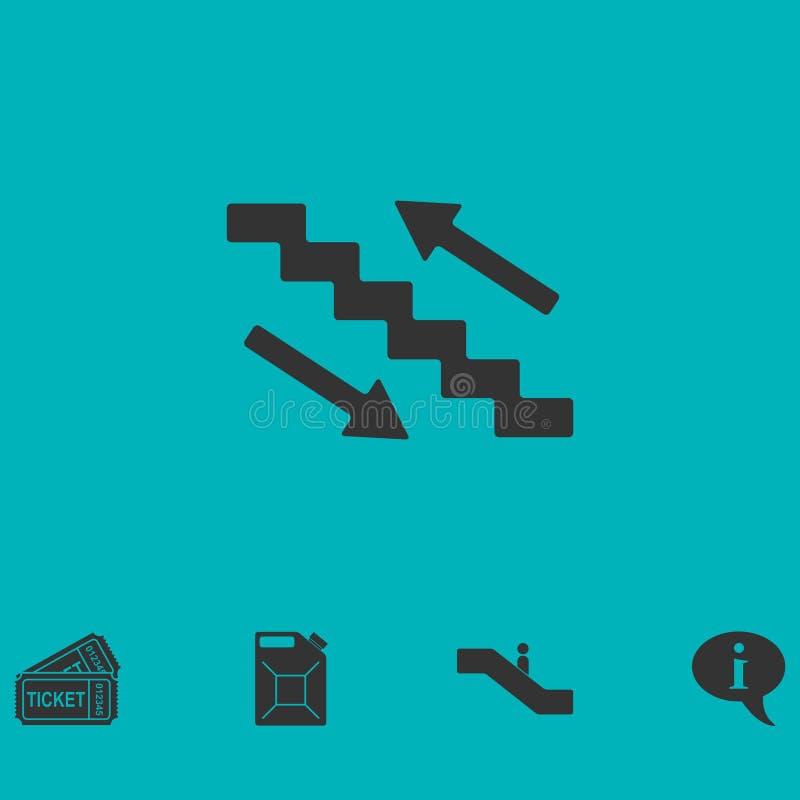 Plano do ícone das escadas ilustração stock