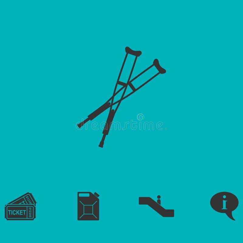 Plano do ícone das muletas ilustração royalty free