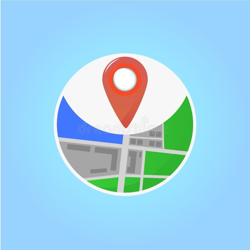 Plano do ícone de Geolocation vector a ilustração no projeto liso no fundo azul ilustração royalty free