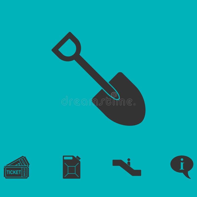 Plano do ícone de Mini Shovel ilustração stock