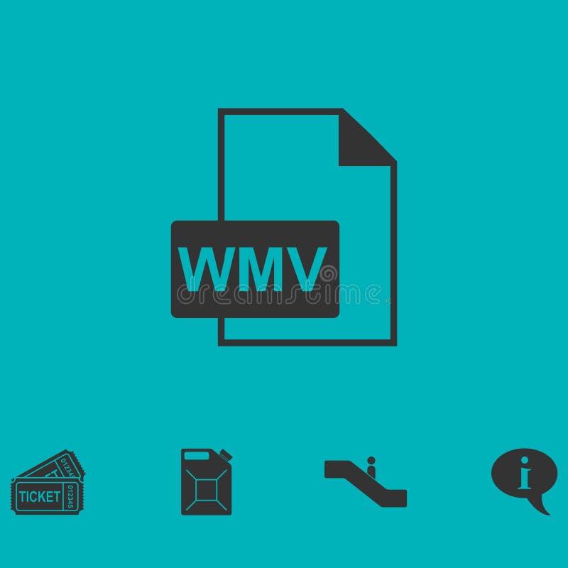 Plano do ícone de WMV ilustração do vetor