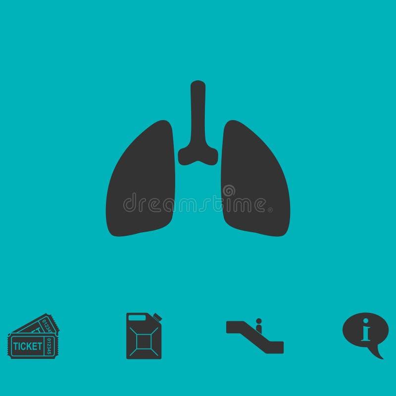 Plano do ícone dos pulmões ilustração royalty free
