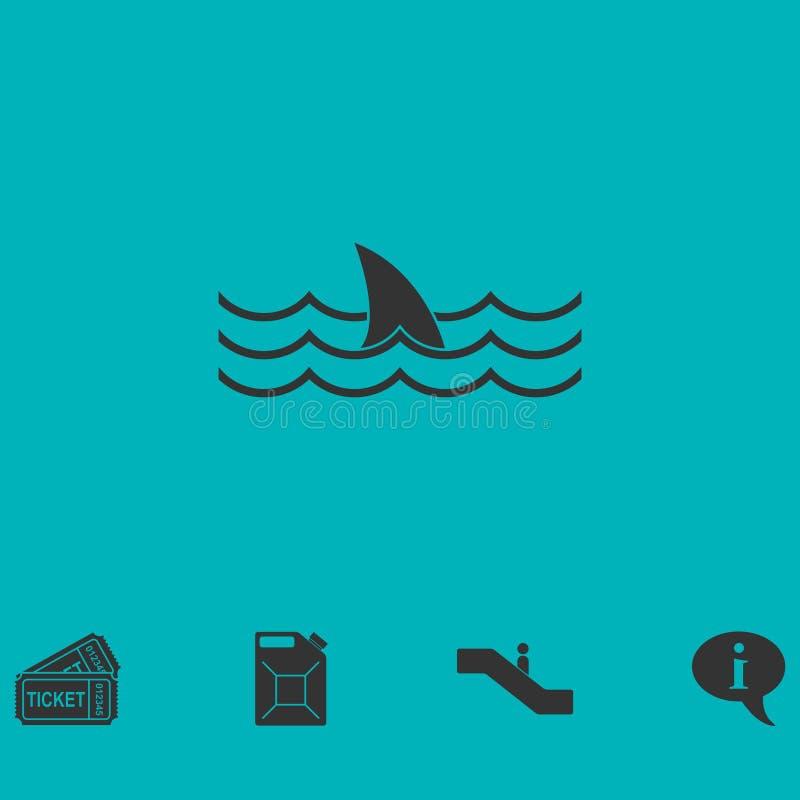 Plano do ícone do tubarão ilustração stock