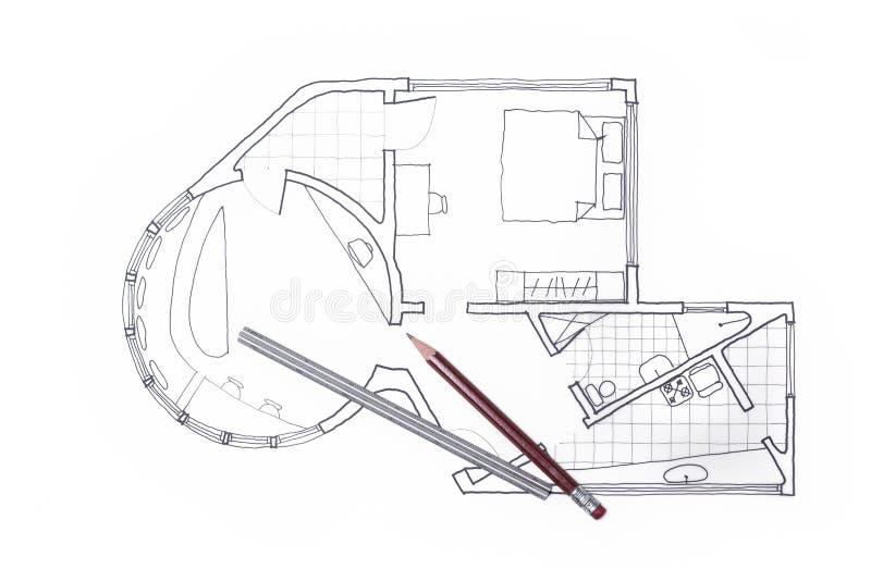 Plano do arquiteto para um design de interiores do condomínio