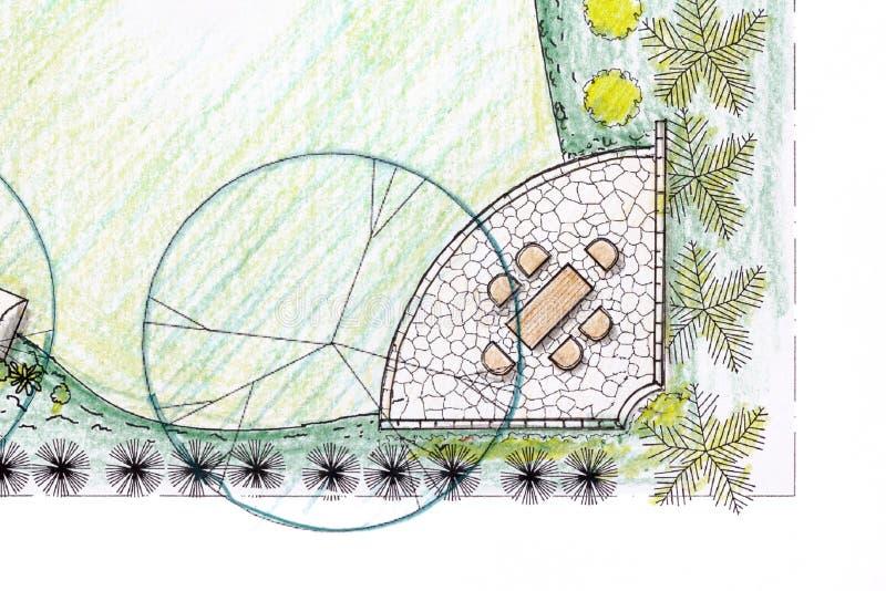 Plano do jardim do quintal no projeto ilustração do vetor