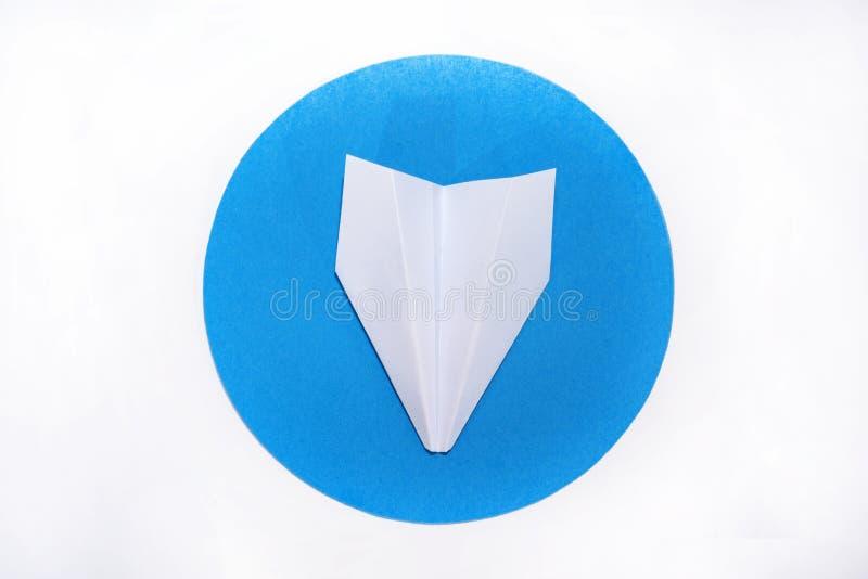 Plano do Livro Branco no círculo azul redondo fotografia de stock royalty free