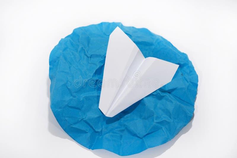 Plano do Livro Branco no círculo azul redondo imagem de stock royalty free