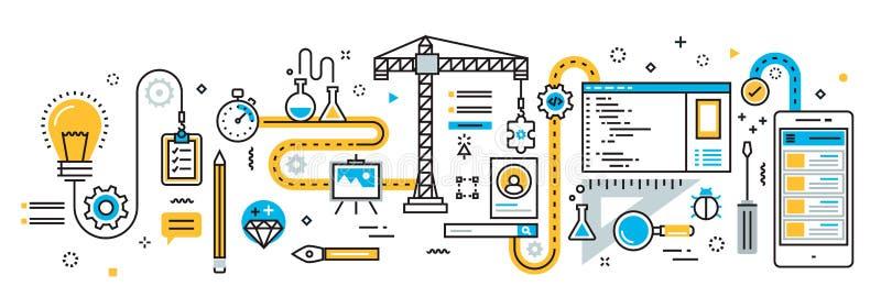 Plano do processo de desenvolvimento de aplicações móvel ilustração stock