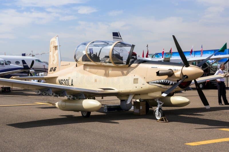 Plano do Texan II de Beechcraft AT-6 do vendedor ambulante fotografia de stock