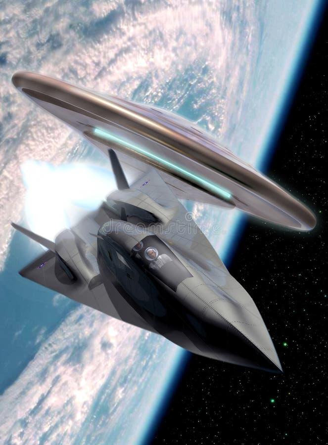 Plano do UFO e do espaço ilustração do vetor