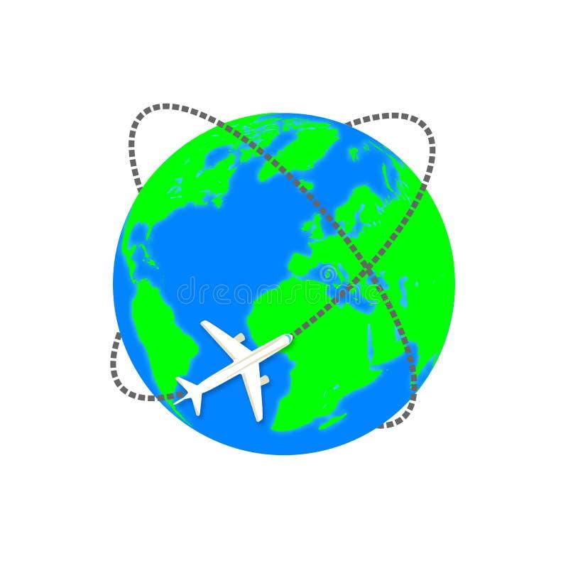 Plano do voo Planeta da terra Voo em torno do mundo Ícone liso ilustração do vetor - vetor ilustração royalty free