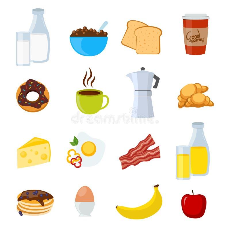 Plano e iconos del desayuno fijados libre illustration