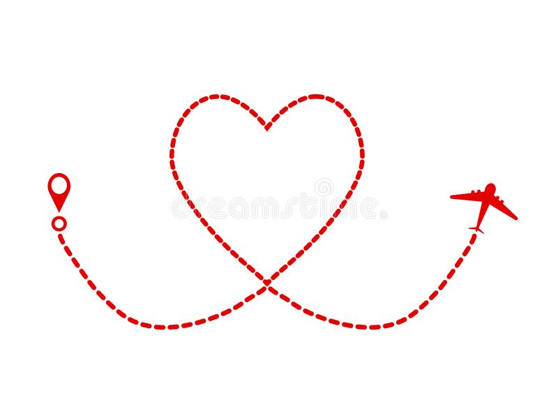 Plano e trilha vermelhos como o símbolo do coração, cartão de Valentine Day ilustração royalty free