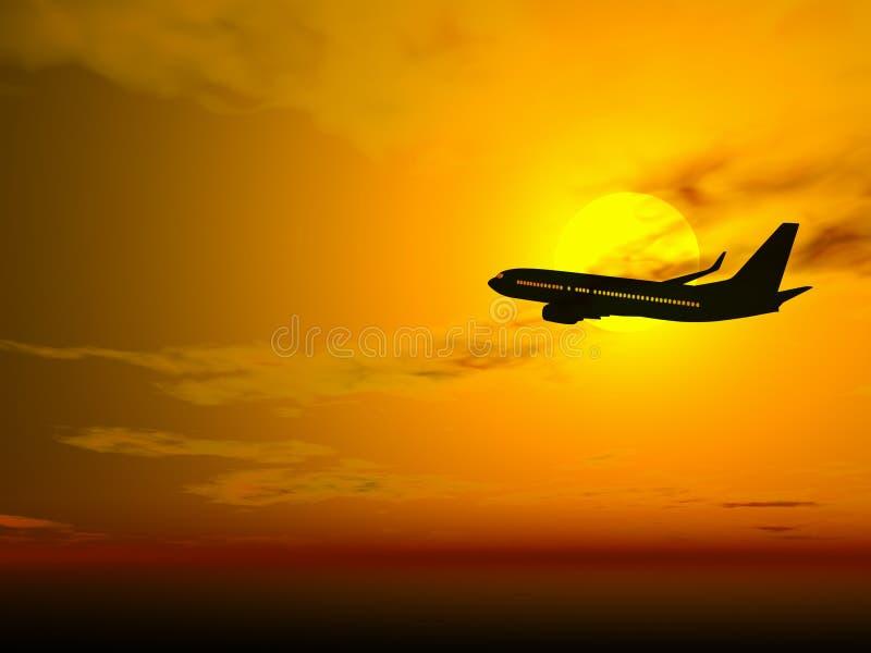 Plano en la puesta del sol ilustración del vector