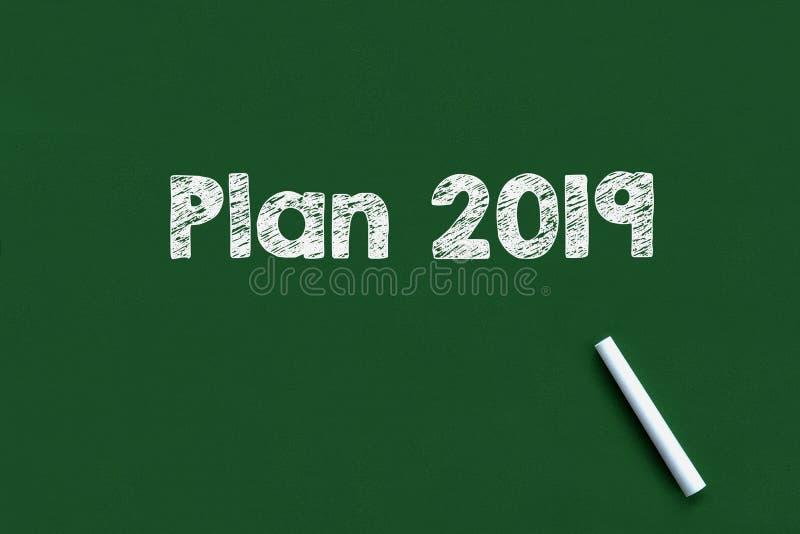 Plano 2019 escrito em um quadro-negro imagem de stock royalty free