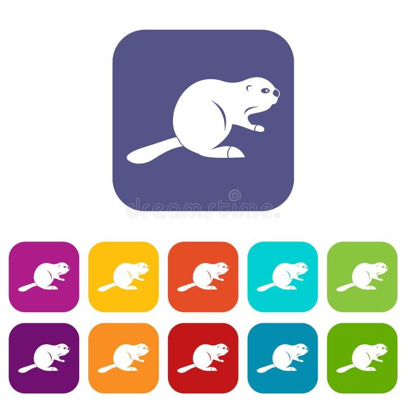 Plano fijado iconos canadienses del castor stock de ilustración