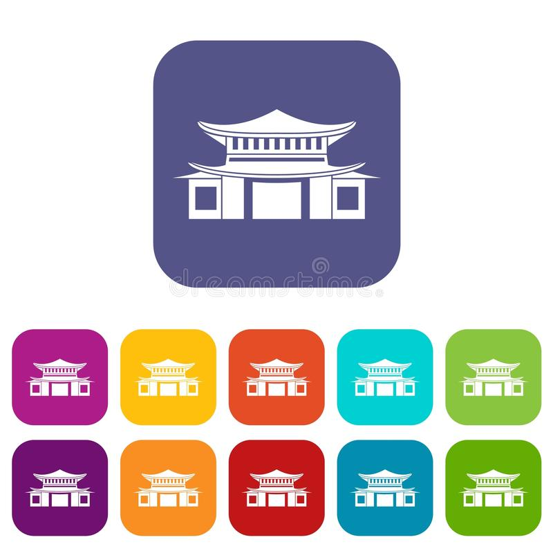 Plano fijado iconos chinos ilustración del vector