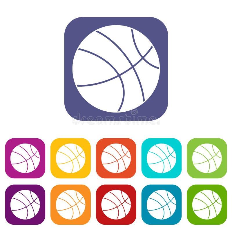 Plano fijado iconos de la bola del baloncesto libre illustration