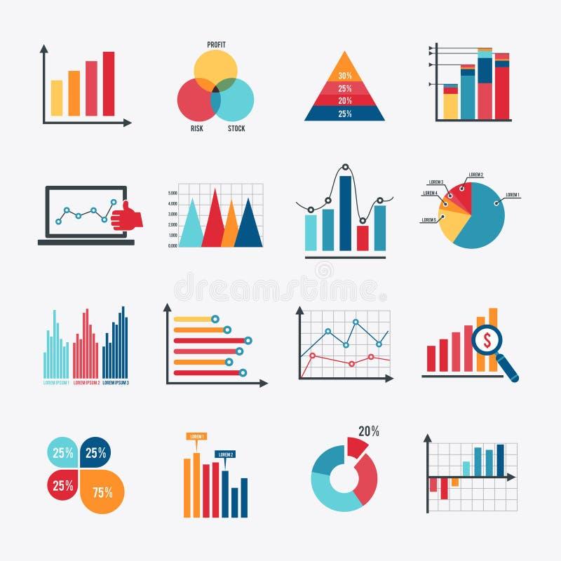 Plano fijado iconos de la carta de negocio stock de ilustración