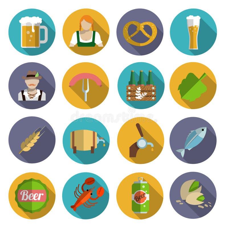 Plano fijado iconos de la cerveza ilustración del vector